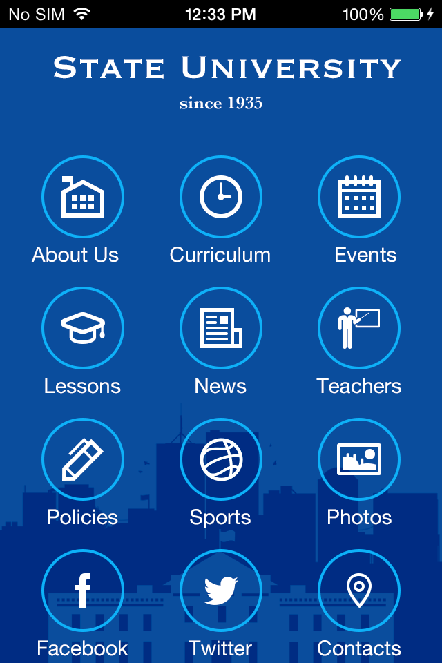 State University 2 App Templates