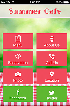 Summer Cafe App Templates